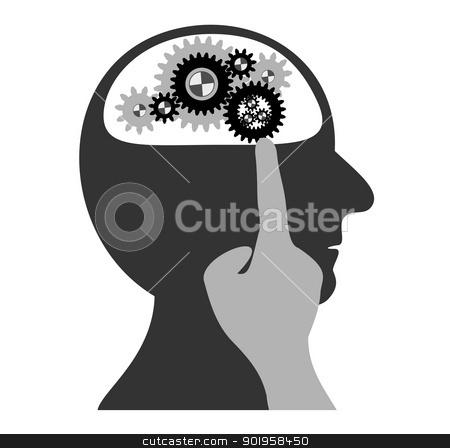 Gears working in the head stock vector clipart, Gears working in the head by Jupe