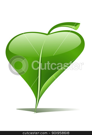 Green leaf pointer stock vector clipart, Green leaf as an pointer by Jupe