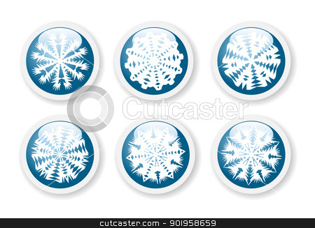 Christmas snowflake stickers  stock vector clipart, Christmas snowflake stickers  by Jupe