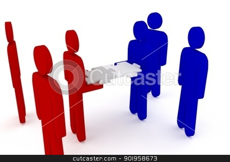 Group of 3d figures working together with puzzle stock photo, Group of 3d figures working together with puzzle by Dennis Connelly
