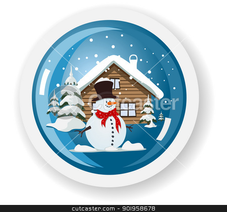 Vector snowman sticker stock vector clipart, Vector snowman sticker by Jupe