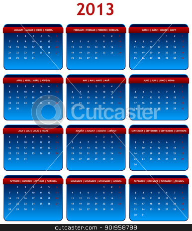 2013 Calendar stock vector clipart, 2013 International Calendar in Shades of Gray on White Background by JAMDesign
