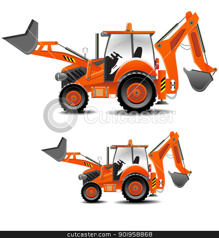Tractor set stock vector clipart, Detailed vector illustration of tractor (building version) in various sizes by Vladimir Repka
