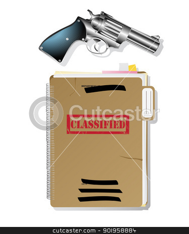 Spy items. stock vector clipart, Classified files and revolver, isolated and grouped objects over white background by Richard Laschon