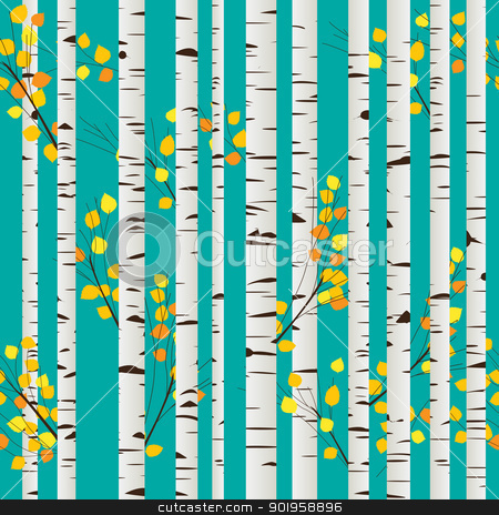 Birch forest pattern stock vector clipart, Autumn birch forest seamless pattern, graphic art by Richard Laschon