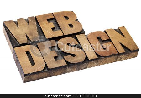 web design in wood type stock photo, web design - isolated text in vintage letterpress  wood printing blocks by Marek Uliasz