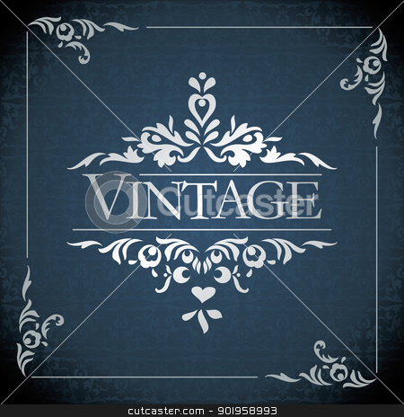 vector vintage frame stock vector clipart, vintage frame design - vector illustration by Ilyes Laszlo