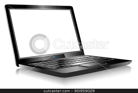 Laptop PC Computer on white background stock vector clipart, 3D Laptop with space for your message by Fenton