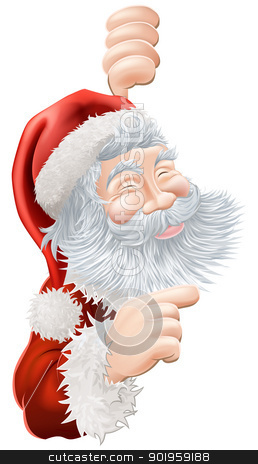 Christmas Santa Claus Pointing stock vector clipart, Illustration of happy Christmas Santa Claus peeping round and pointing by Christos Georghiou