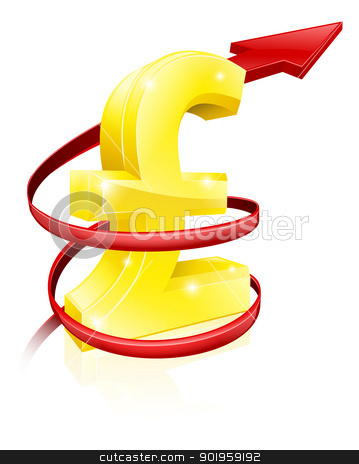 Rising Pound or profits stock vector clipart, Conceptual finance or economy concept of rising price of the Pound exchange rate or just rising profits by Christos Georghiou
