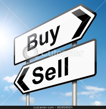 Buy or sell. stock photo, Illustration depicting a roadsign with a buy or sell concept. Sky background. by Samantha Craddock