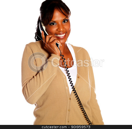 Adult woman looking at you speaking on phone stock photo, Adult woman looking at you speaking on phone against white background by pablocalvog