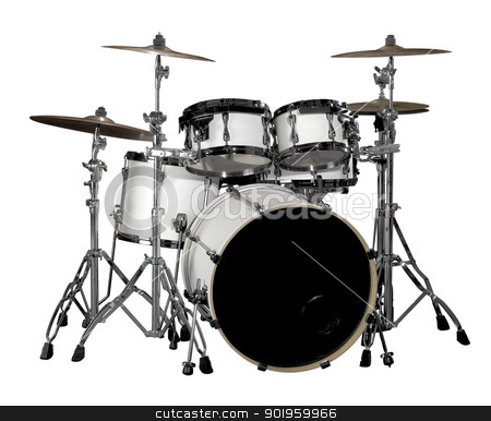 Drum kit stock photo, white drum kit in white back by prill
