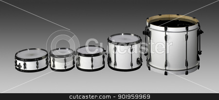 Drum set stock photo, set of white drums in grey gradient back by prill