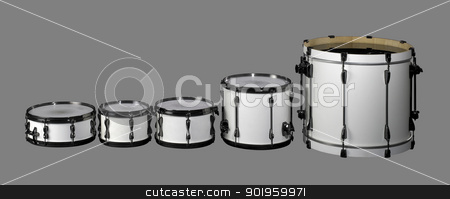 Drum set stock photo, set of white drums in grey back by prill