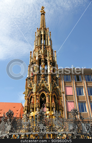 Ancient Fountain in Nuremberg stock photo, Ancient Fountain (the Schoener Brunnen) built in the 13th century in Nuremberg, Bavaria, Germany. by Michael Osterrieder
