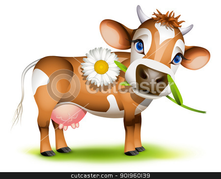 Little Jersey cow eating daisy stock vector clipart, Little Jersey cow eating daisy by Laurent Renault