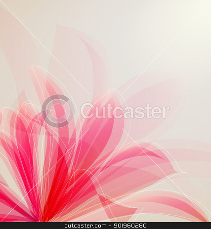flower stock vector clipart, Lily flower abstract vector background, greeting card template by Miroslava Hlavacova