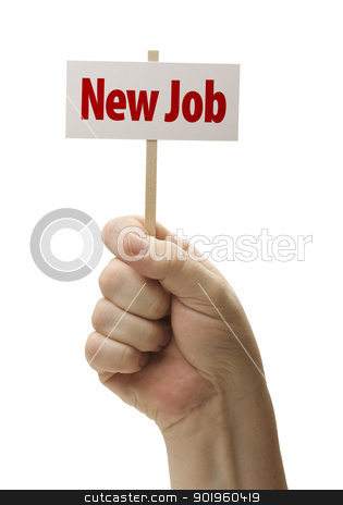 New Job Sign In Fist On White stock photo, New Job Sign In Male Fist Isolated On A White Background. by Andy Dean