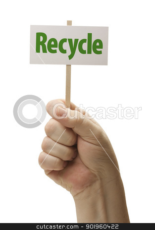 Recycle Sign In Fist On White stock photo, Recycle Sign In Male Fist Isolated On A White Background. by Andy Dean