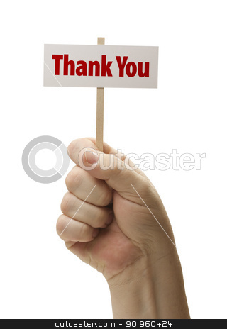 Thank You Sign In Fist On White stock photo, Thank You Sign In Male Fist Isolated On A White Background. by Andy Dean
