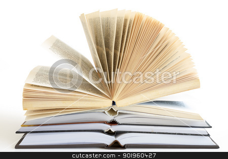 Stack of open books stock photo, Stack of open old fanned hardcover leather bound books by manaemedia