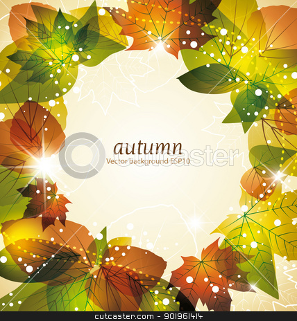 Autumn background stock vector clipart, Autumn leaves background with space for text  by Miroslava Hlavacova