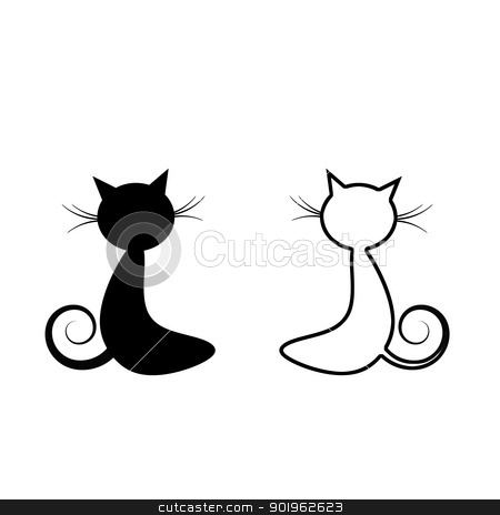 Black Cat  stock vector clipart, Black cat silhouette isolated on white background by Ingvar Bjork