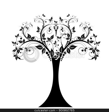 Art tree  stock vector clipart, Art tree isolated on white background  by Ingvar Bjork