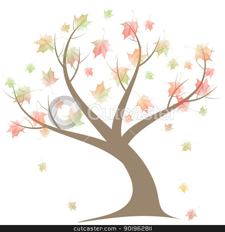 Autumn Tree stock vector clipart, Beautiful autumn tree isolated on white background by Ingvar Bjork