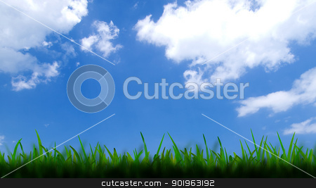 Green grass over a blue sky background stock photo, Green grass over a blue sky background by jakgree