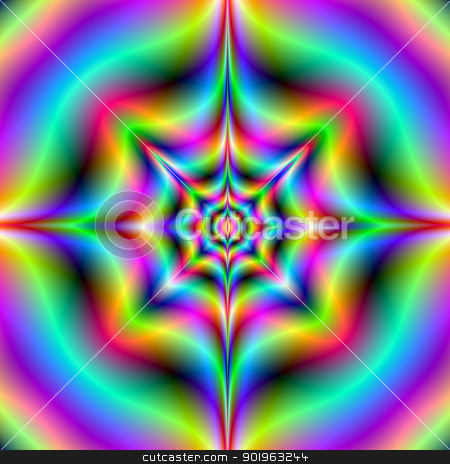 Neon Psychedelia stock photo, Digital abstract image with a psychedelic design in neon blue, pink and yellow. by Colin Forrest