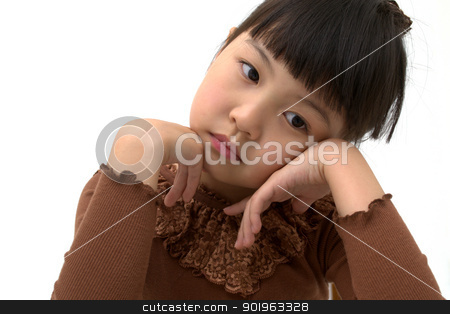 Beautiful asian girl thinking, Close-up   stock photo, Beautiful little asian girl isolated on white background