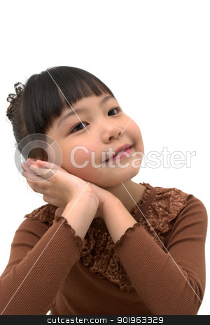 Beautiful asian girl thinking something happy  stock photo, Beautiful little asian girl isolated on white background  by blueperfume
