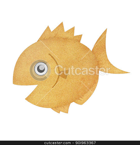 Recycled paper texture fish illustration isolated on white stock photo, Recycled paper texture fish illustration isolated on white by jakgree