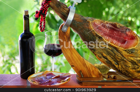 Jamon of spain and red wine. stock photo, Jamon of spain and red wine. by Inacio Pires
