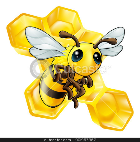 Cartoon bee with honeycomb stock vector clipart, An illustration of a smiling cartoon bee with honeycomb by Christos Georghiou
