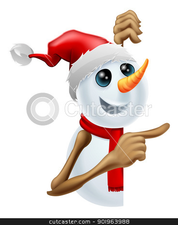 Happy snowman in Santa hat pointing stock vector clipart, Happy cartoon snowman in a red Santa hat and scarf pointing by Christos Georghiou