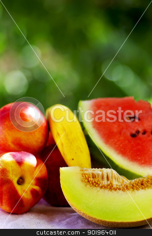 slice of melon and ripe fruits stock photo, slice of melon and ripe fruits by Inacio Pires