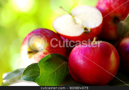 ripe red apples on table stock photo, 	ripe red apples on table, green background by Inacio Pires