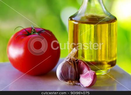tomato, garlic and oil olive stock photo, tomato, garlic and oil olive by Inacio Pires