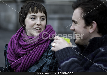 Young romantic London couple laughing stock photo, Young romantic London couple laughing across from Big Ben on the Thames River by Joshua Hilton
