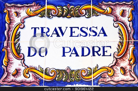 Portuguese tile plaque on street stock photo, Portuguese tile plaque on street by Inacio Pires