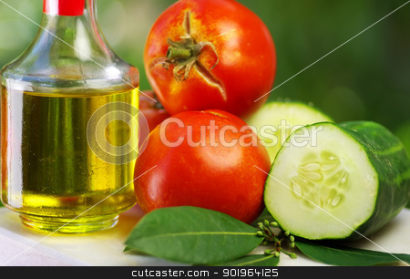 Olive oil, tomato and cucumber stock photo, Olive oil, tomato and cucumber by Inacio Pires
