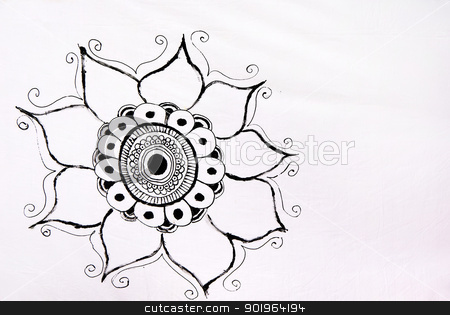 Stylized drawing of a sunflower stock photo, Stylized drawing of a sunflower in a medieval cloth by Inacio Pires