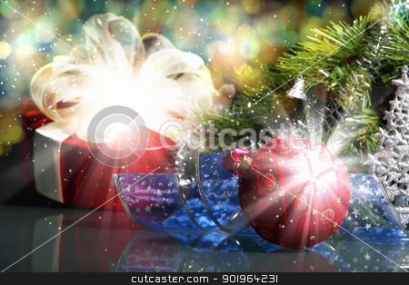 New Year's collage stock photo, New Year's collage. Decorations and ribbons on a bright color background by Sergey Nivens