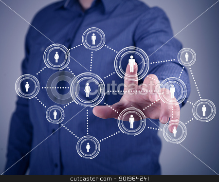 Businessman pressing social media icon stock photo, Businessman in suit pressing social media icon by Sergey Nivens