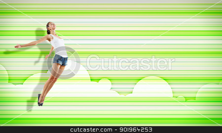 young woman dancing and jumping... stock photo, pretty modern slim hip-hop style woman jumping dancing on a colour background by Sergey Nivens