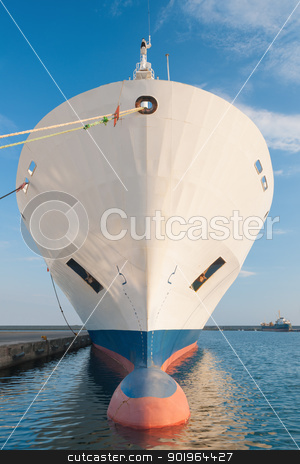 Bow of dry cargo ship stock photo, Bulbous bow of dry cargo ship docked in harbor by Andreas Karelias