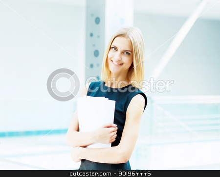 young pretty business woman... stock photo, A portrait of a young business woman in an office by Sergey Nivens